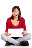 Success girl on a laptop Royalty Free Stock Images
