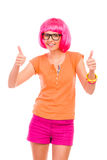 Success girl showing thumbs up. stock photography