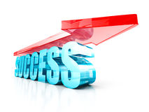 Success Glass Text Word With Red Rising Up Arrow. 3d Render Illustration Stock Photos