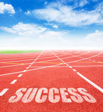 Success Goals concept. Success on red racing track with blue sky. 2016 Goals concept Stock Image