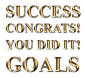 Success Goals Congrats Gold Text Royalty Free Stock Photography