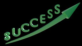 Success going up. 3D render. SUCCESS written in 3D green font with up going arrow Royalty Free Stock Image