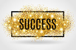 Success gold glitter on white background Stock Image