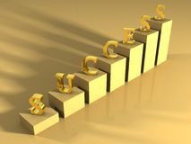 Success gold shiny ladder. On a gold surface Royalty Free Stock Images
