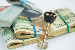 Success and got profit from business with pile of American dolla Royalty Free Stock Image