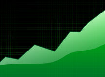 Success graph. Growing graph over black checked background 2d illustration Stock Photography