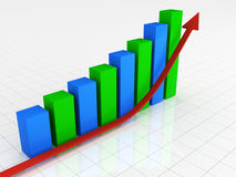Success graph. 3d rendered illustration of success graph Stock Image