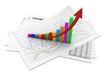Success graph. Business graphic with arrow up showing success Royalty Free Stock Photography