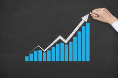Success Graph on Blackboard Blue Stock Images