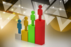 Success graph crated by colour people Royalty Free Stock Photography
