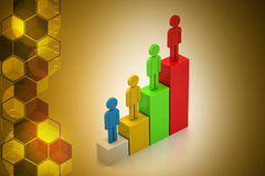 Success graph crated by colour people Stock Photo