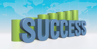 Success with graph. 3d success with graph and worldmap concept Stock Image
