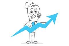 Success graph. Job of explaining the world, human work Royalty Free Stock Image