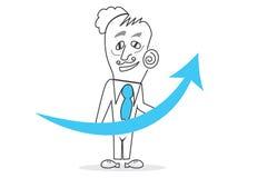 Success graph. Job of explaining the world, human work Stock Image