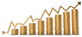 Success: graph over golden coins Stock Photos
