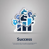 Success - Graphic Design Concept. Blue Dollar Signs and Chart with Results Growing - Abstract Financial Success Concept Background Design in Editable Vector Stock Photos