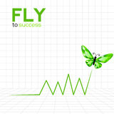 Success graphic with emerald butterfly Royalty Free Stock Images
