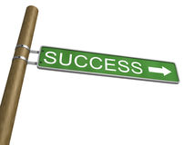 Success Green Road Sign With Arrow on white Royalty Free Stock Image