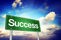Success Green Road Sign, Business Concept Stock Photos