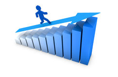 Success and growing. One growing bar chart with a cartoon man climbing it (3d render Royalty Free Stock Photography