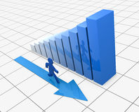 Success and growing. One growing bar chart with a cartoon man that runs next to it(3d render Royalty Free Stock Photo
