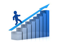 Success and growing. One growing bar chart with a cartoon man climbing it (3d render Stock Photo