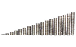 Success growth chart made of silver coins Royalty Free Stock Photography