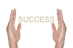 Success in hand isolated Stock Photography