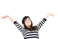 Success and Happiness. Young woman smiling with arms wide open. Copy space Stock Images