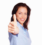 Success - Happy woman with a thumbs up sign Stock Image