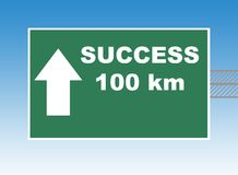 Success Highway sign. Highway or road sign pointing way to success in 100 kilometers, blue sky background stock illustration