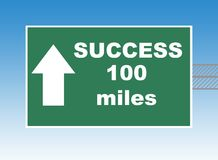Success Highway sign. Highway or road sign pointing way to success in 100 miles, blue sky background royalty free illustration