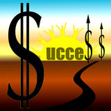 Success on the Horizon. Success across the horizon enhanced with dollar sign and upward arrow Royalty Free Stock Image