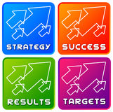 Success icons. Colorful icons for success, strategy, results and targets Stock Images