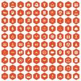 100 success icons hexagon orange Stock Photo