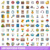 100 success icons set, cartoon style Royalty Free Stock Images