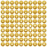 100 success icons set gold Royalty Free Stock Photos