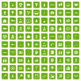 100 success icons set grunge green Stock Photo