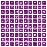 100 success icons set grunge purple Royalty Free Stock Image