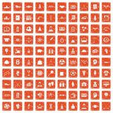 100 success icons set grunge orange. 100 success icons set in grunge style orange color isolated on white background vector illustration Stock Images