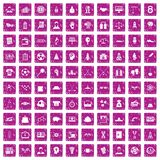 100 success icons set grunge pink. 100 success icons set in grunge style pink color isolated on white background vector illustration stock illustration