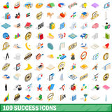 100 success icons set, isometric 3d style Stock Photography