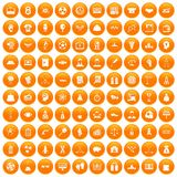 100 success icons set orange. 100 success icons set in orange circle isolated on white vector illustration stock illustration