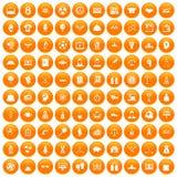 100 success icons set orange. 100 success icons set in orange circle isolated on white vector illustration Stock Photography
