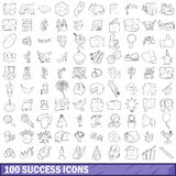 100 success icons set, outline style Stock Photography
