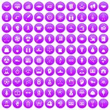 100 success icons set purple. 100 success icons set in purple circle isolated on white vector illustration stock illustration