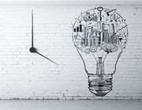 Success idea concept. Front view of interior with creative business sketch inside light bulb on white brick wall with clock. Success idea concept. 3D Rendering Royalty Free Stock Photography