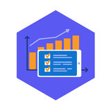 Success, increasing results, performed plan icon. Completed task and excellent statistics. Flat design vector illustration Stock Image