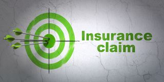 Insurance concept: target and Insurance Claim on wall background Stock Photography