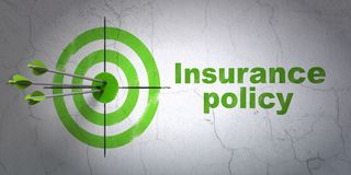 Insurance concept: target and Insurance Policy on wall background Stock Photos